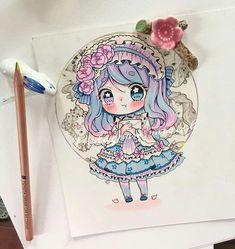 Chibi Girl Drawings, Kpop Drawings, Art Drawings Sketches Simple, Kawaii Drawings, Cute Drawings, Alice Anime, Copic Art, Cute Cartoon Pictures, Cute Anime Chibi