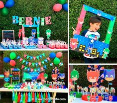 Pj Mask Party Decorations, Diy Party Themes, Party Themes For Boys, Party Ideas, Twin Birthday Parties, Boy Birthday, Decoracion Pj Mask, Pjmask Party, Festa Pj Masks