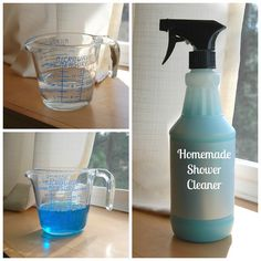 "Homemade Shower Cleaner - With the Dawn dish detergent, I'm not sure if this falls under the ""healthy"" category but it's homemade and HAS to be better (and cheaper) than store bought!"