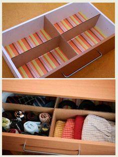Repartição de gavetas feitas com papelão