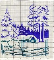Cross Stitch House, Cross Stitch Charts, Cross Stitching, Cross Stitch Embroidery, Cross Stitch Landscape, Monochrome Pattern, Tapestry Crochet, Crochet Home, Christmas Cross