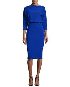 TBLKX Badgley Mischka 3/4-Sleeve Knit Blouson Dress, Blue