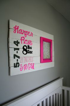 --Free Shipping in USA--  --Please Leave a note at checkout with your child's stats, thank you.--  This customizable birth stat sign is the perfect way to remember your little one's debut! This wooden sign features hot pink, grey, black, and white - but if you would prefer something different...