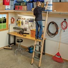 Rockler Rolling Utility Ladder - Wood Kits - www.rockler.com. Use this ladder in a garage or your shop.