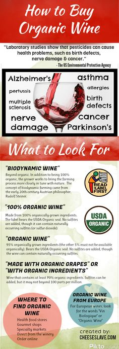 "[infographic] ""How to buy Organic Wine"" Oct-2012 by cheeseslave.com - Differences between Biodynamic Wine, 100% Organic Wine, Organic Wine 95%, or ""Made with Organic Grape (70%) - USA"