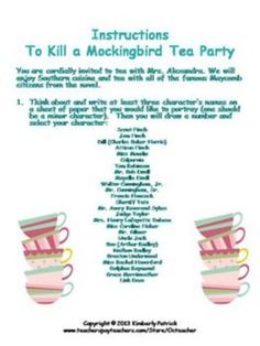 to kill a mockingbird character recognition and quote test  to kill a mockingbird character analysis essay tea party