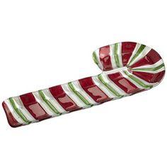 This Candy Cane Platter from Pier 1 Imports makes anything you serve look festive! $22.95  //  ¡Esta bandeja en forma de bastón navideño de Pier 1 Imports hará que lo que sea que estés sirviendo se vea más festivo! Precio: $22.95.