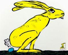 Wolf-Dieter Pfennig - Osterhase Die Überraschung 2011  49 cm x 67 cm vierfarbig  auf Karton chamois, 250 g  Auflage: 55 Exemplare Preis: 130 Euro zzgl. Versandkosten  http://www.edition-trodler.de/daten/kuenstler/pfennig/quer/038.html