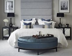 Grey Bedroom - Grey padded ceiling height headboard, Carina Mirrored cabinet, Eleanor Stool in blue and Dark ebony tray from iwooddesign
