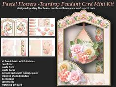 Pastel Flowers Teardrop Pendant Card Mini Kit on Craftsuprint designed by Mary MacBean - Shaped aperture card with a teardrop pendant with beautiful pastel-coloured flowers.