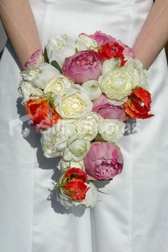 Ivory, Pink and Orange Teardrop Bridal Bouquet with Peonies