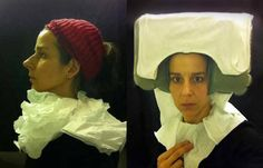 """""""Artist Nina Katchadourian went into an airplane bathroom and spontaneously improvised a 15th century Flemish costume from a toilet-seat cover and shot a suitably posed self-portrait."""" --Via Boing Boing"""