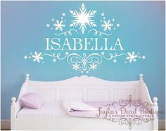 Frozen Snowflakes Personalized Girl Name - Wall Decal