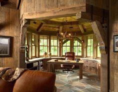 Rustic home office....Love the circular room idea