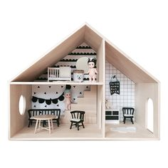These adorable birch dolls houses come complete with black and white scadi-style wallpaper and removable stairs 'block'. You can create a cosy home for your Sonny Angels and decorate your Homely house as you wish – we used Smaland furniture (which can be bought online)...