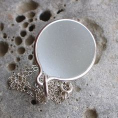 Natural Sea Glass Sterling Silver Large Pendant Necklace Soft White Glow (498)