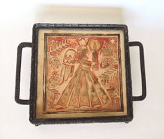 Christmas Trivet Angel Tile Footed Wrought Iron by trailsofthewest