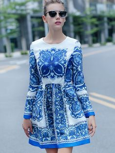 Shop White and Blue Porcelain Round Neck Long Sleeve Jacquard Dress online. SheIn offers White and Blue Porcelain Round Neck Long Sleeve Jacquard Dress & more to fit your fashionable needs. Day Dresses, Dresses For Sale, Dresses Online, Blue Dresses, Short Dresses, Wedding Dresses, Jacquard Dress, Neck Pattern, White Shop