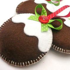 Figgy Puddings Trio - Felt Christmas Decorations