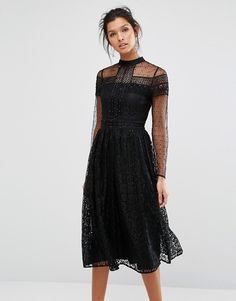 Frock and Frill | Frock and Frill Black High Neck Lace Midi Dress with Bead Detail at Asos