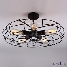 $32 Novelty LOFT Industry Wrought Iron Fan Close to Ceiling LightCode:# HL371436