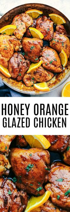 Honey Orange Glazed Chicken combines delicious spices and a sweet and tangy honey orange glaze. This makes the perfect meal for your family and has amazing flavor! (Chicken And Asparagus Recipes) Healthy Chicken Recipes, Turkey Recipes, Meat Recipes, Cooking Recipes, Orange Glazed Chicken, Honey Chicken, Glaze For Chicken, Chicken Feed, Carne