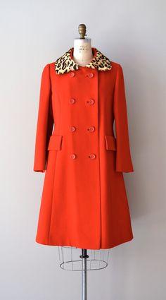 1960s coat | 60s FIREBRAND wool coat | leopard coat