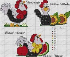 Pano de prato Rooster Cross Stitch, Chicken Cross Stitch, Just Cross Stitch, Cross Stitch Borders, Cross Stitch Animals, Cross Stitch Charts, Cross Stitch Designs, Cross Stitching, Cross Stitch Embroidery
