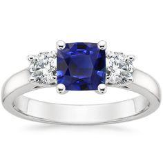 Angara Classic Three Stone Princess Blue Diamond Ring(5.5mm) TzlvO4P6x
