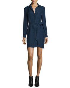 TCGKB Diane von Furstenberg Seanna Belted Silk Shirtdress, Midnight
