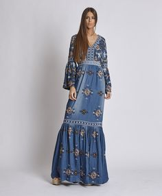 Denim Fashion, Boho Fashion, Fashion Dresses, Style Outfits, Hippie Outfits, Vestidos Country, Mode Simple, Look Boho, Indian Designer Outfits