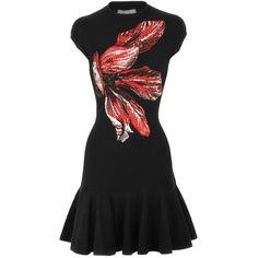 Alexander McQueen Black Sleeveless Flower Dress via Polyvore