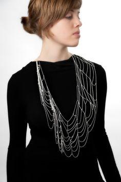 "Zoë Wendel [BFA 2011/Jewelry+Metalsmithing at RISD]  Spider Web Necklace (17 x 7""), silver chain"