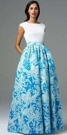 Aidan Mattox Cap Sleeve Printed Satin Evening Dress <3