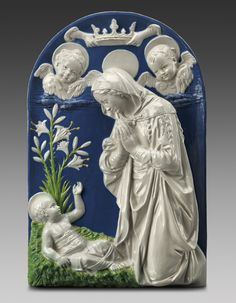 Cantagalli Workshop, The Virgin adoring the Child, about 1910, glazed terracotta. William Francis Warden Fund