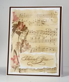 flowers stamped on sheet music
