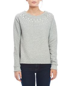 Another great find on #zulily! Heather Gray Embellished Quilted Sweater by Love & Love #zulilyfinds
