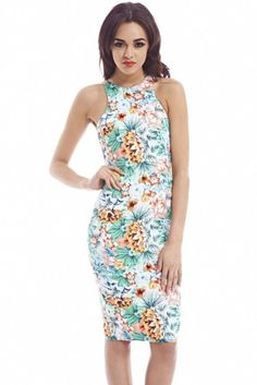 Jungle Print Cut In Neck Midi Cream Dress