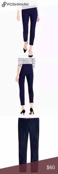 "J. CREW Minnie Ankle Pants Stretch Twill Navy Blue It's called the ""magic pant"" around the office for a reason: It's sleek, chic and slim fitting, with an exactly-right-length leg. And it goes with just about everything.  Cotton with a hint of stretch. Side zip. Dry clean. Sits just above hip. Fitted through hip and thigh, with a skinny, cropped leg. 26"" inseam. J. Crew Pants Ankle & Cropped"