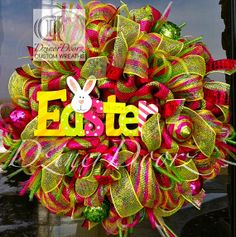 Colorful Easter deco mesh Wreath
