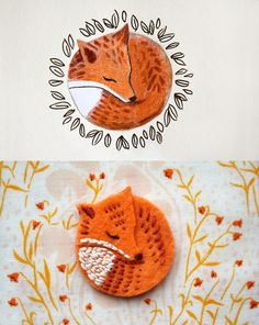 Turning an illustration into an embroidery: a little embroidered fox on felt. Turning an illustration into an embroidery: a little embroidered fox on felt. is creative inspiration for us. Felt Crafts, Fabric Crafts, Sewing Projects, Craft Projects, Felt Fox, Felt Baby, Little Birds, Felt Ornaments, Felt Animals