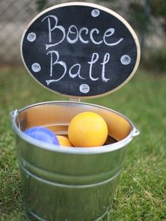 """Creative Reception Ideas to """"Wow"""" Your Guests Play Lawn Games For an outdoor afternoon wedding, setting up a game of bocce ball is an easy way to add. Wedding Games Signs, Lawn Games Wedding, Wedding Games For Guests, Reception Signs, Wedding Reception, Our Wedding, Reception Ideas, Wedding Ideas, Wedding Stuff"""