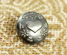 Heart and Flowers Metal Buttons , Shiny Gunmetal Color , Shank , 0.87 inch , 6 pcs by Lyanwood, $6.00
