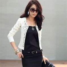 FD2737 new Womens Ladies Outwear Suit OL Blazer Long Sleeve Rivet Short Coat ~White~