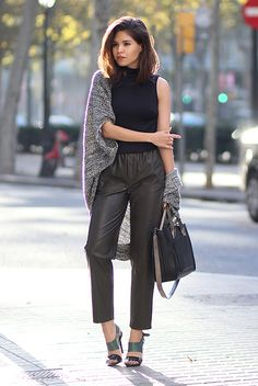 fall / winter - street style - street chic style - casual outfits - fall outfits - office wear - business casual - work outfits - black turtleneck sleeveless top + black leather ankle pants + grey marled cardigan + black and grey handbag + green and black heeled sandals