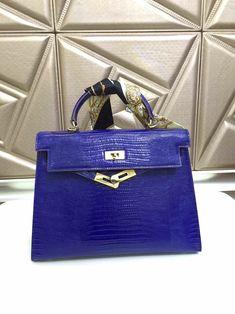 Hermes kelly lizard pattern Royal Blue bag with GHW Hermes Bags, Hermes Handbags, Handbags On Sale, Hermes Kelly 25, Preppy Wardrobe, Wallet Sale, Crossbody Bag, Tote Bag, Blue Bags