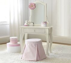 Pottery Barn Kids Vanity For Girls Playroom.