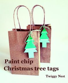 Paint chip ombre Christmas tree tags