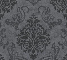 Wallpaper baroque glitter AS Creation Memory black grey