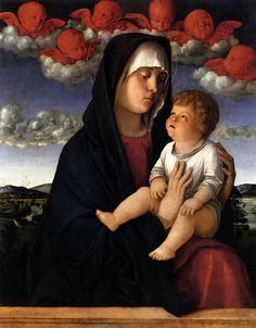 BELLINI, Giovanni Italian painter, Venetian school (b. ca. 1426, Venezia, d. 1516, Venezia)  Madonna of Red Cherubs c. 1485 Oil on panel, 77 x 60 cm Gallerie dell'Accademia, Venice